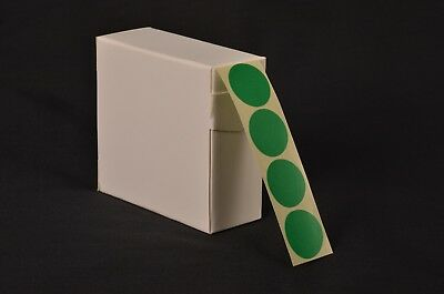 1000 Forest Green Stickers 25Mm Dia. Coloured  Self Adhesive Labels Sticky Dots