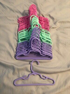 """12 Pink 11 Purple 10 Green Plastic Doll Hangers 18"""" American Girl Doll Clothes"""