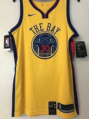 22a5375443ee NWT Stephen Curry Nike Golden State Warriors The Bay Chinese NY Jersey Size  40