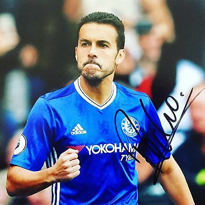 Pedro HAND SIGNED Official Chelsea & Spain 12x8 Photograph *In Person* COA