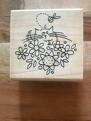 Stampendous Spring F151 BEA FLUFFLES Rubber Stamp Cat Kitten Bee Flower - cute!