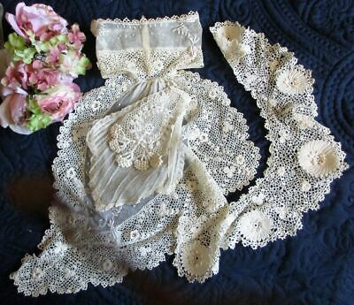 Lot Antique/vintage Hand Made Irish Crochet Lace Dress Trims~Padded Embroidery