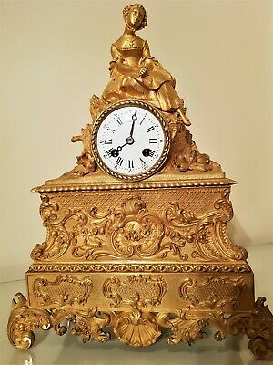 19th Century French Ormolu Figural Mantel Clock.