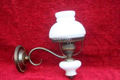 A French Vintage Single Wall Lamp Brass - Glass/Porcelain With Glass  Shade