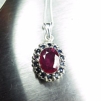 2.4ct Natural Red Ruby & sapphire 925 Sterling silver / 9ct 14k 18k Gold pendant