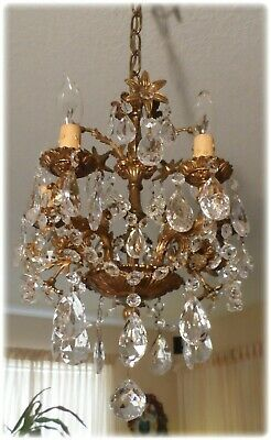 Vintage Bronze Petite Chandelier 5 Arms And Crystal Prisms