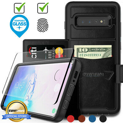 Samsung Galaxy S10 Plus S10 S10E Leather Flip Wallet Card Phone Case Cover Pouch