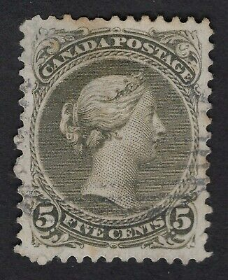 CANADA #26 5c Olive green 11.50 X 12P   with a THIN   LARGE QUEEN  1875