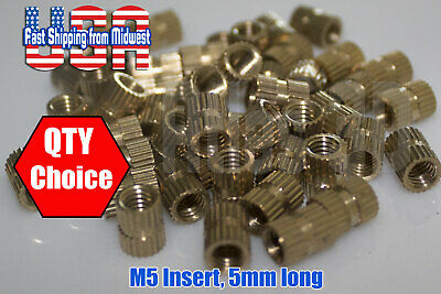 M5 Brass Threaded Heat Set Inserts, 5mm Long, for Plastic 3D Printing Metal Nuts