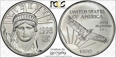 1998 $100 Platinum Eagle- PCGS MS68 GOLD SEAL Security - Authenticate (A4126)