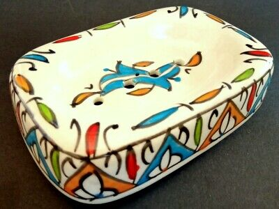 Bathing Accessoire Soap Dish With Pottery Handcraftd Ceramic Moroccan Soap Box