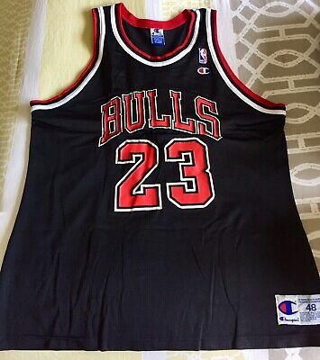brand new b2cbb 6a42b VINTAGE MICHAEL JORDAN MJ Black Chicago Bulls Jersey Size 48 XL Champion #23