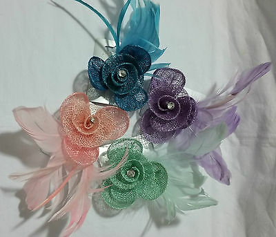 Pastel Coloured Hessian Net Rosebud Fascinator with feathers on Forked Clip