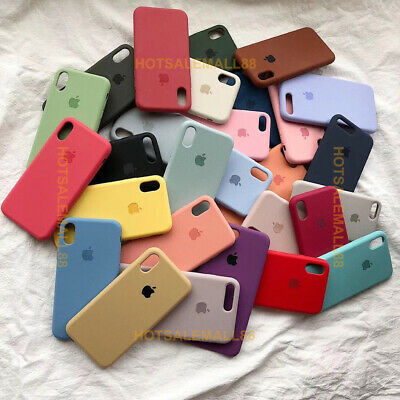 Funda Para iPhone X XR XS Max 8 7 6s Plus Original carcasas de Silicona Genuina