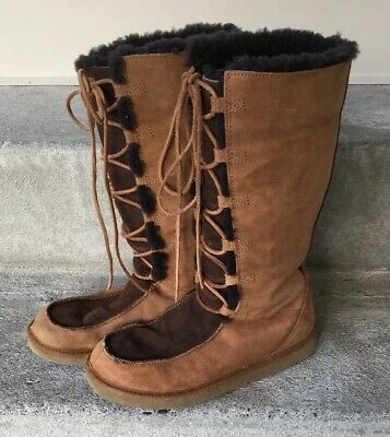 3a75e0cec43 TALL UGG WHITLEY Moccasin Boots. Sheepskin Suede Leather Lace Size 9 ...
