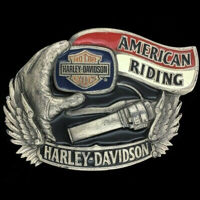 Vtg 90s Harley Davidson American Riding Motorcycle Biker Bar Shield Belt Buckle