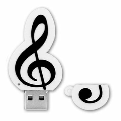White Music Note USB2.0 Flash Drives Memory Stick Pen Drive U Disk Gift NL