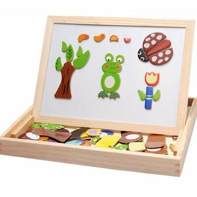 Kids Early Educational Learning Wooden Magnetic Drawing Board Jigsaw Puzzle T kw