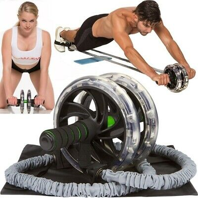 2PCSDouble Wheels Ab Roller Pull Rope Waist Abdominal Slimming Equipment Fitness