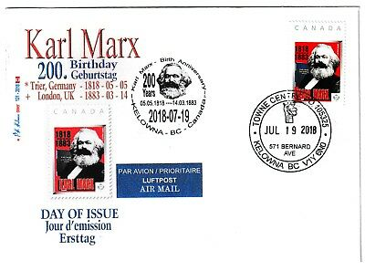Karl Marx - 200 Anniv of Birth 2018 - CDN  Picture PostageFDC
