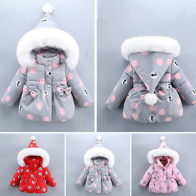 Cute Toddler Baby Girl Winter Warm Coat Jacket Fur Hooded Outerwear Clothes 0~4Y