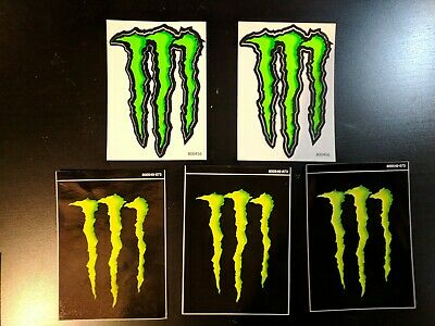 """5 Monster Energy Logo Stickers Decals 4"""" X 3"""""""