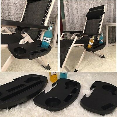 7D19 6469 Clip-On Relaxer Beach Chair Tray Cup MP3 Player Drink Holder Camp Tool