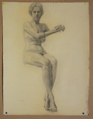 Canadian Stanley G. Moyer (1887-1968) Graphite Drawing - Nude Lady Circa 1910s
