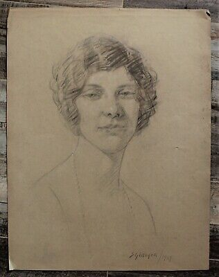 Canadian Stanley G. Moyer (1887-1968) Charcoal Drawing - Lady With Pearls c1924
