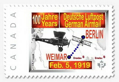 NEW - German Airmail  100 Anniv. 2019  - CDN Picture Postage