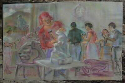 Canadian Stanley Gordon Moyer (1887-1968) Pastel Drawing - Sculpture Class c1953