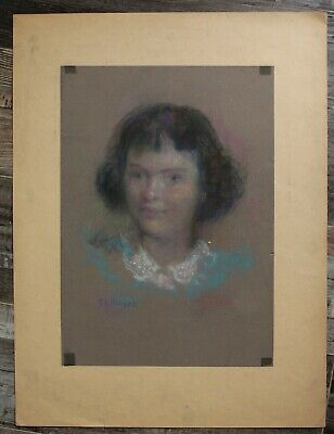 Canadian Stanley Gordon Moyer (1887-1968) Pastel Drawing- Girl In Blue Portrait