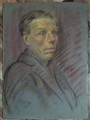 Canadian Stanley G. Moyer (1887-1968) Pastel Drawing- Large Man Portrait c1917