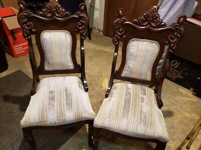Pair antique chairs, fair condition, beautiful ornate carved wood frames