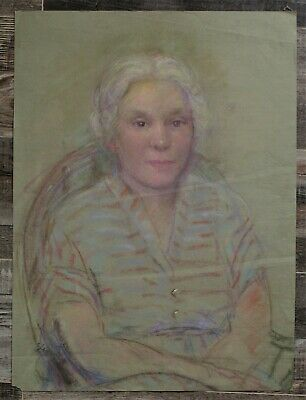 Canadian Stanley G. Moyer (1887-1968) Pastel Drawing - Lady In Striped Shirt