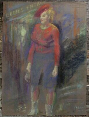 Canadian Stanley G. Moyer (1887-1968) Pastel Drawing - Lady In Red Signed c1942