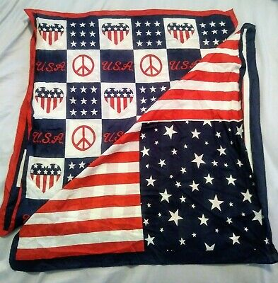 345a177ff03 2 Patriotic American Flag Bandannas USA Stars And Stripes Peace Hearts