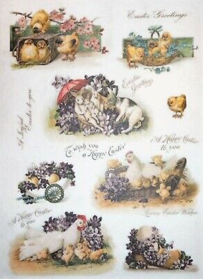 Rice Paper for Decoupage  Scrapbooking Sheet Craft Easter Roosters 1  Art F48