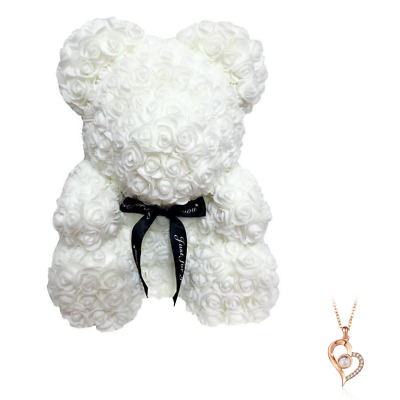 """White Rose Flower Teddy Bear 10"""" + FREE I Love You Necklace For Mother's Day"""