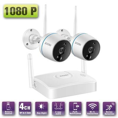 ZOSI Wireless 4CH 1080P NVR CCTV Security IP Camera System WiFi Audio PIR Sensor