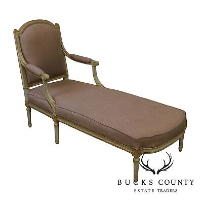 French Louis XVI Period Antique 18th - 19th Century Painted Chaise Lounge