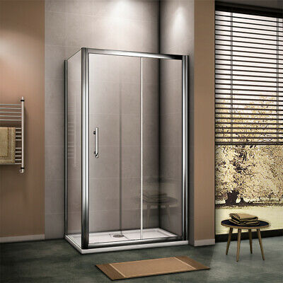 Aica 6mm/8mm EasyClean Glass Sliding Door Shower Enclosure Side Panel Tray&Waste
