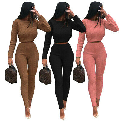 2019 Women's Two-piece Long Sleeve Sweater Clothing Casual High-elastic Suit