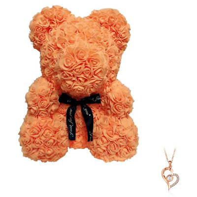 """Orange Rose Flower Teddy Bear 10"""" + FREE I Love You Necklace 