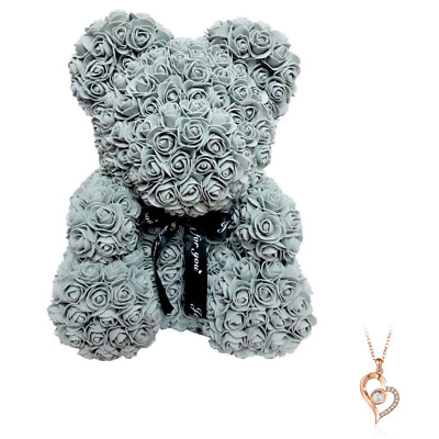 """Grey Rose Flower Teddy Bear 10"""" + FREE I Love You Necklace 