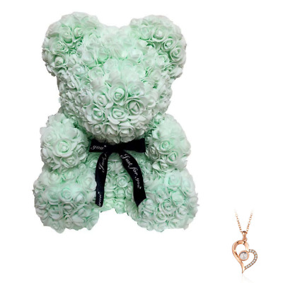 """Aqua Rose Flower Teddy Bear 10"""" + FREE I Love You Necklace 