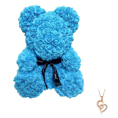 """Blue Rose Flower Teddy Bear 10"""" + FREE I Love You Necklace 