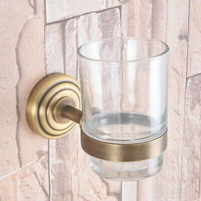 Antique Brass Wall Mounted Bathroom Single Tumbler Cup Holder Toothbrush Holder