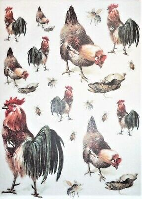 Rice Papers for Decoupage Scrapbook Craft Easter Chicken and Rooster 254