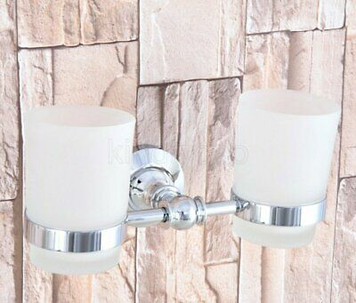 Polished Chrome Brass Wall Mounted Bathroom Toothbrush Double Tumbler&cup holder